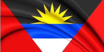 3D Flag of Antigua and Barbuda. Close Up.