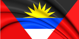 3D Flag of Antigua and Barbuda. Close Up.