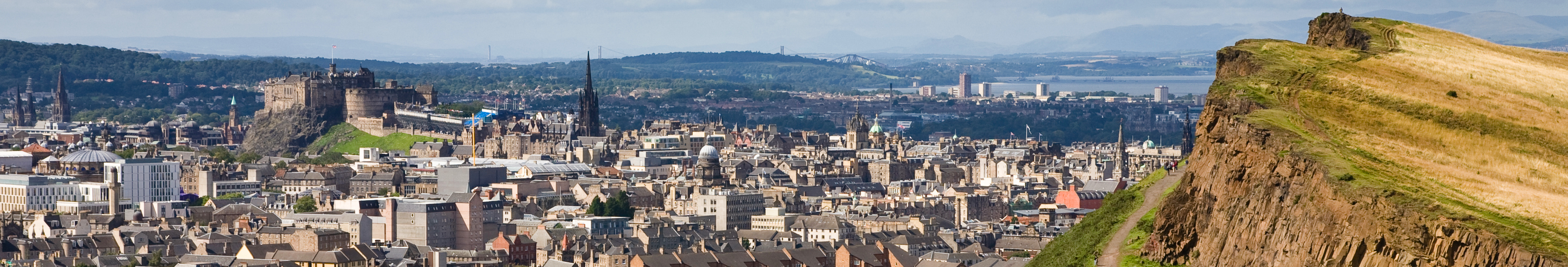 A view over Edinburgh from Arthur's seat in Holyrood park, Scotland